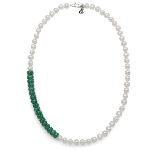 "18"" Green Onyx & White Freshwater Pearl Color Block Necklace"
