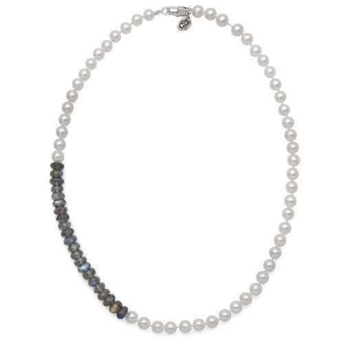 "18"" Labradorite & White Freshwater Pearl Color Block Necklace"