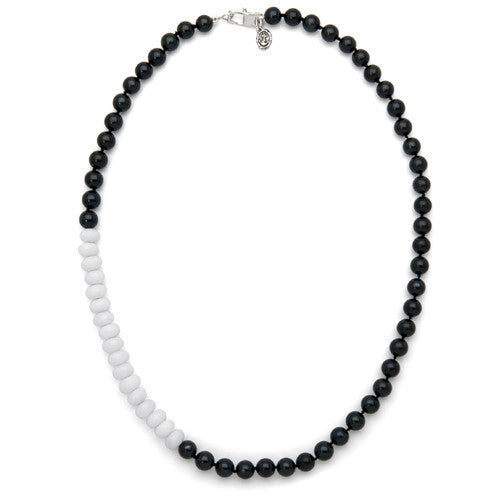 "18"" White Jade & Black Akoya Pearl Color Block Necklace"