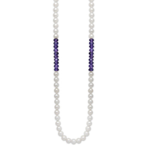 "24"" Amethyst & White Freshwater Pearl Color Block Necklace"