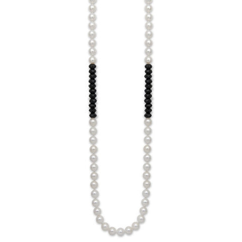 "24"" Black Onyx & White Freshwater Pearl Color Block Necklace"