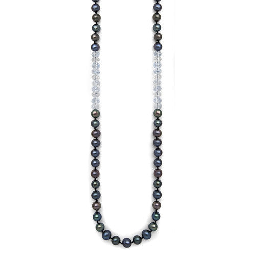 "24"" Crystal Quartz & Black Freshwater Pearl Color Block Necklace"
