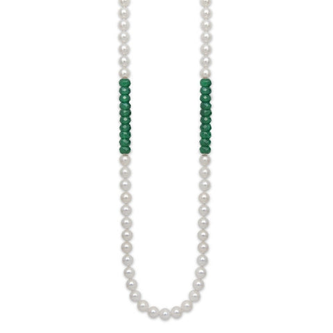 "24"" Green Onyx & WhiteFreshwater Pearl Color Block Necklace"