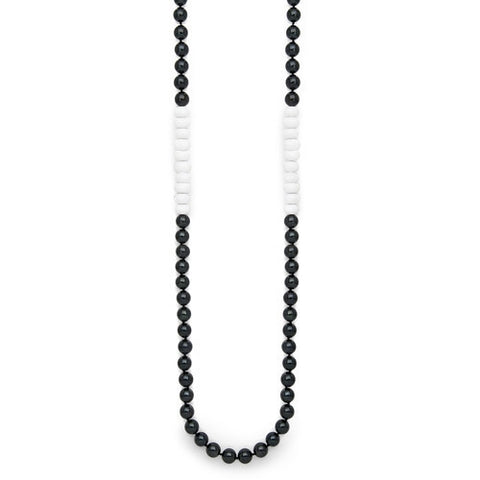 "24"" White Jade & Black Akoya Pearl Color Block Necklace"