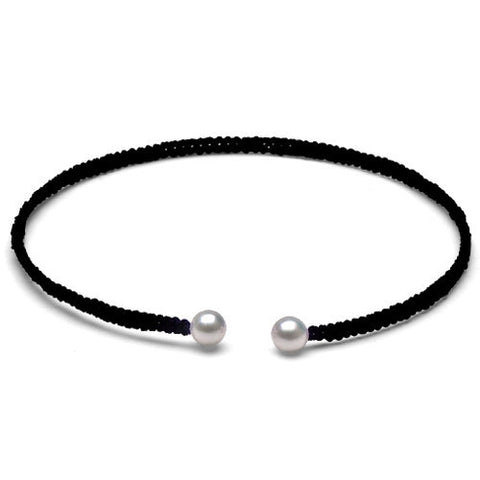 The Freshwater Pearl & Black Macrame Torque Bracelet, Small