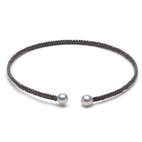 The Freshwater Pearl & Grey Macrame Torque Bracelet, Small