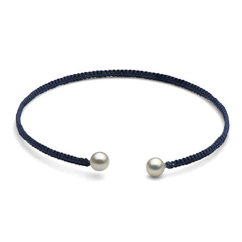 The Freshwater Pearl & Navy Macrame Torque Bracelet, Small