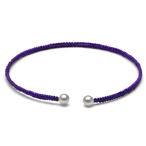 The Freshwater Pearl & Purple Macrame Torque Bracelet, Small