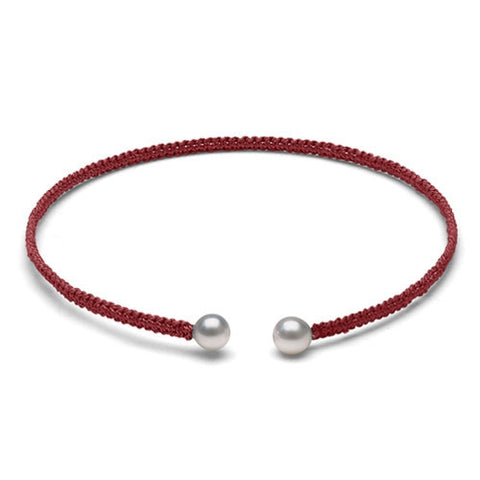 The Freshwater Pearl & Red Macrame Torque Bracelet, Small
