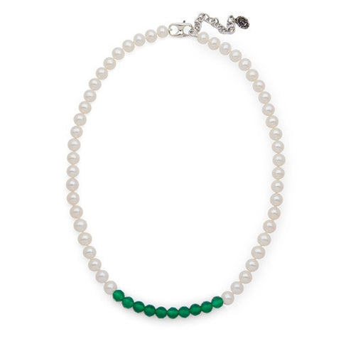 Green Agate Color Block Necklace