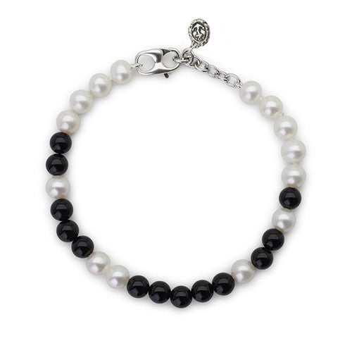 "Black Onyx and White Pearl ""Fighter"" Bracelet"