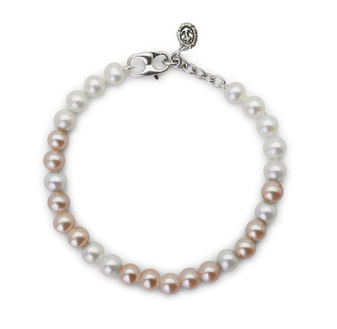 "Pink and White Pearl ""Fighter"" Bracelet"