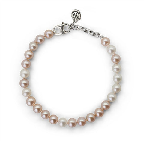 "Pink and White Pearl ""Survivor"" Bracelet"