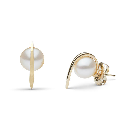 Curved Spike Freshwater Pearl Earrings in 14k Yellow Gold