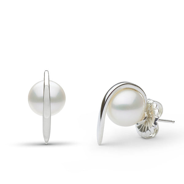 Curved Spike Freshwater Pearl Earrings in Sterling Silver