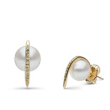 Curved Spike Freshwater Pearl and Diamond Earrings in 14k Yellow Gold