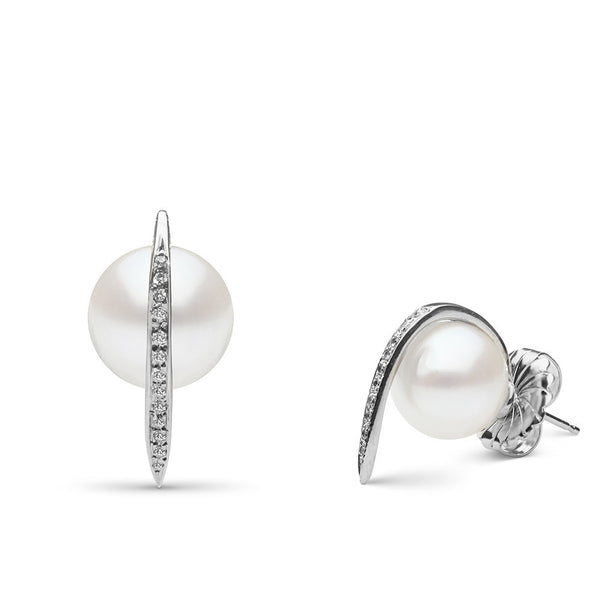 Curved Spike Freshwater Pearl and Diamond Earrings in Sterling Silver