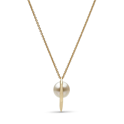 Curved Spike Freshwater Pearl Pendant in 14k Gold