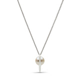 Curved Spike Freshwater Pearl Pendant in Sterling Silver