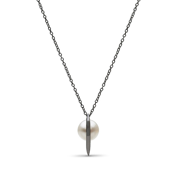 Curved Spike Freshwater Pearl Pendant in Black Rhodium