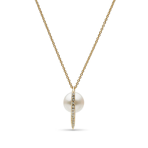 Curved Spike Freshwater Pearl and Diamond Pendant in 14k Gold