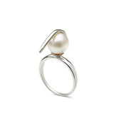 Curved Spike Freshwater Pearl Ring in Sterling Silver