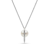 Curved Spike Freshwater Pearl and Diamond Pendant in Sterling Silver