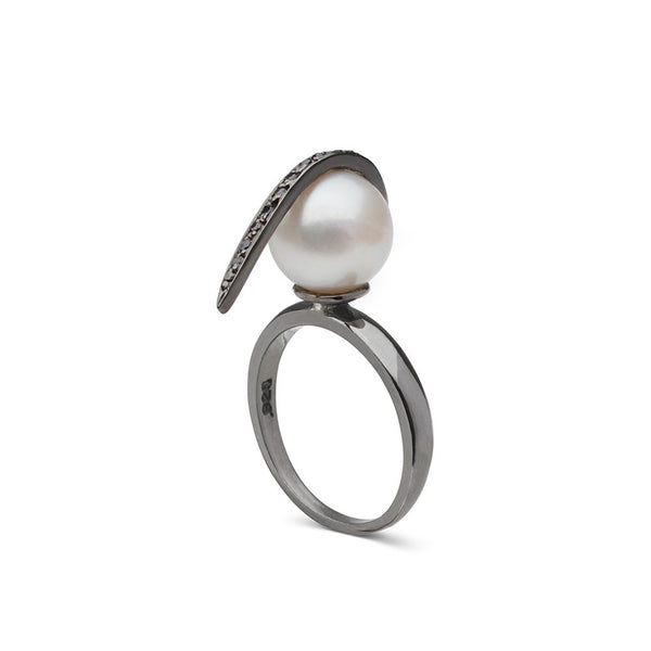 Curved Spike Freshwater Pearl and Diamond Ring in Black Rhodium