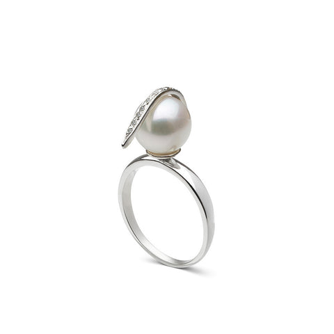 Curved Spike Freshwater Pearl and Diamond Ring in Sterling Silver