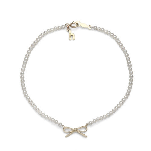 Freshwater Pearl & Yellow Gold Bow Bracelet