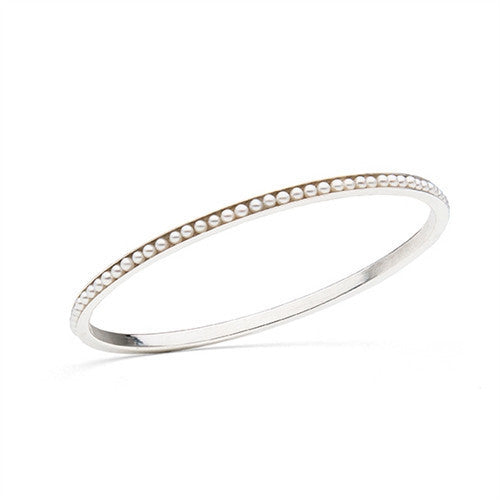 Oval Bangle with Freshwater Seed Pearls in Sterling Silver