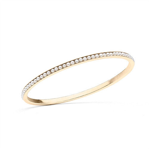 Oval Bangle with Freshwater Seed Pearls in 14K Yellow Gold