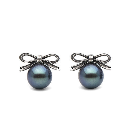 Freshwater Pearl & Sterling Silver Bow Studs