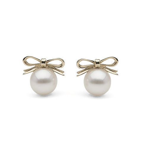 Freshwater Pearl & Yellow Gold Bow Studs