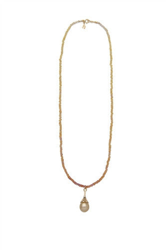 Golden Ombre Sapphire Necklace with Golden South Sea Drop in Yellow Gold