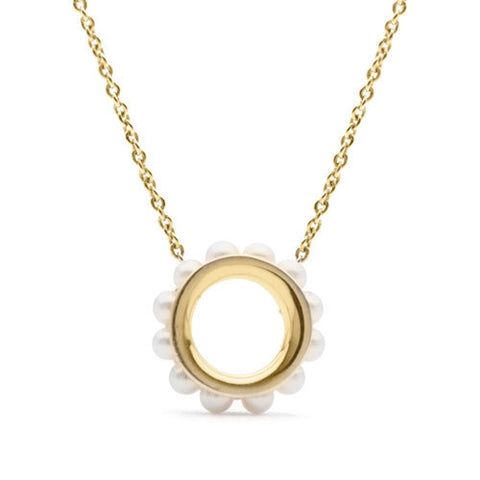 Circle Pendant with Seed Pearls in Yellow Gold