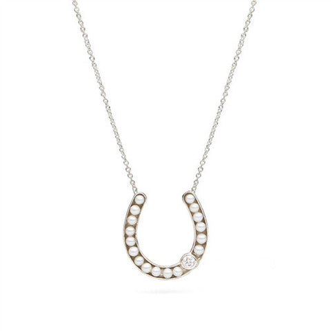 Horseshoe Pendant with Freshwater Seed Pearls in Sterling Silver with Diamond Accent