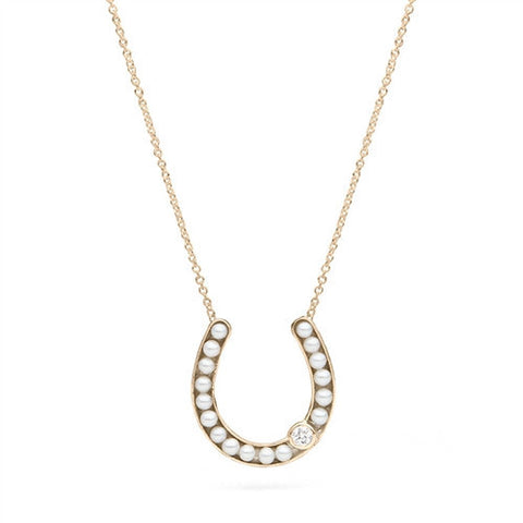 Horseshoe Pendant with Freshwater Seed Pearls in Yellow Gold with Diamond Accent