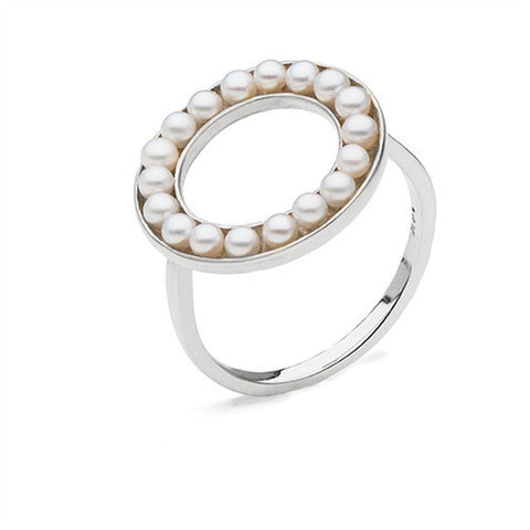 Circle Ring with Freshwater Seed Pearls in Sterling Silver