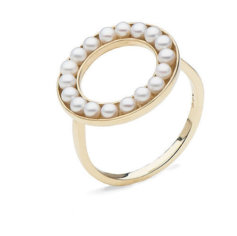 Circle Ring with Freshwater Seed Pearls in Yellow Gold