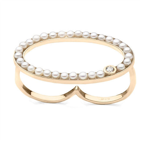 Oval Two Finger Ring with Freshwater Seed Pearls in Yellow Gold with Diamond Accent