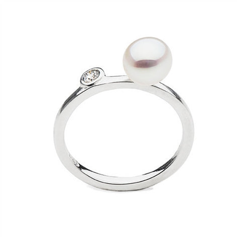 Stackable South Sea Keshi Pearl Ring with Diamond Accent in Sterling Silver
