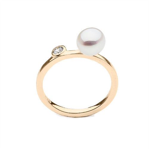 bf5a02875e2ad6 Stackable South Sea Keshi Pearl Ring with Diamond Accent in 14k Yellow Gold