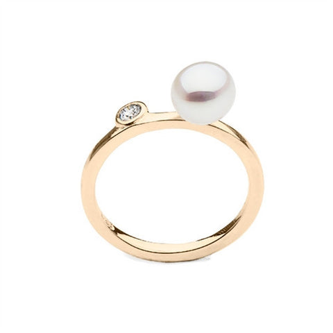 Stackable South Sea Keshi Pearl Ring with Diamond Accent in 14k Yellow Gold
