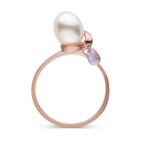 Petite Stackable Ring with Sapphire Briolette in Rose Gold