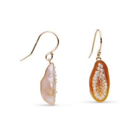 Freshwater Souffle Pearl and Seed Pearl Geode Earrings