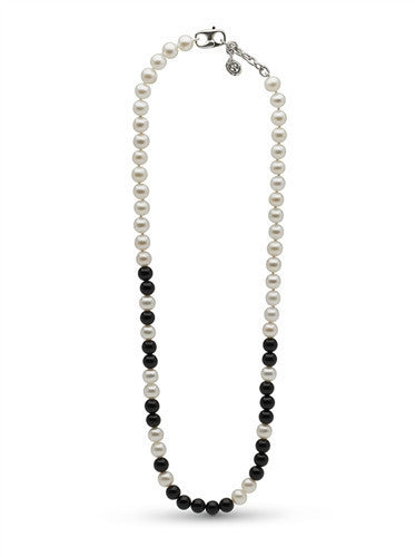 "Black Onyx and White Pearl ""I Can and I Will"" Necklace"