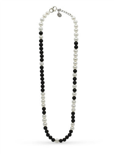 "Black Onyx and White Pearl ""Life Is Tough But So Are You"" Necklace"