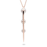 Long Curved Spike Pearl Pendant in 14k Rose Gold