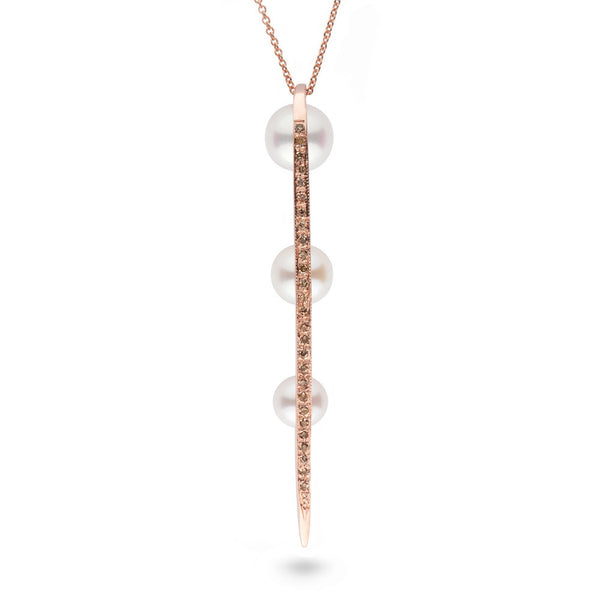Long Curved Spike Pearl and Diamond Pendant in 14k Rose Gold